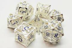 Hollow Dice - Silver w/ Blue