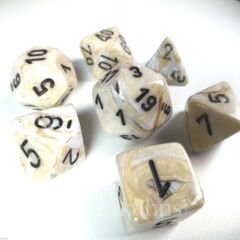 7 Ivory w/Black Marble Polyhedral Dice Set - CHX27402