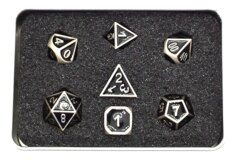Old School RPG Dice Set: Elven Forged - Black w/ Silver