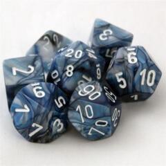 7 Slate w/White Lustrous Polyhedral Dice Set - CHX27490