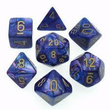 Lustrous Purple / Gold 7 Dice Set - CHX27497