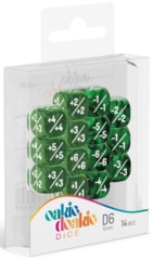 Oakie Doakie Dice - 12mm D6 Positive & Negative, Green (14)