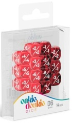 Oakie Doakie Dice - 12mm D6 Positive & Negative, Red (14)