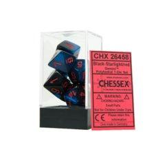 7 Black-Starlight w/Red Gemini Polyhedral Dice Set - CHX26458