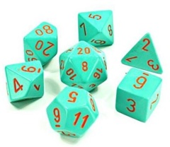 Lab Dice Heavy Turquoise / Orange 7 Die Set - CHX30039