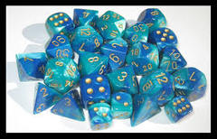 Chessex Blue-Teal/Gold polyhedral 7-die CHX26459