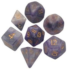 Critical Reinforcers 16mm Resin Dice Polyhedral Set Blue/white Gold Numbers