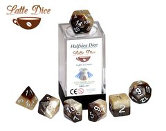 Halfsies Dice: Latte - 7 Dice Polyhedral Set - Coffee and Cream