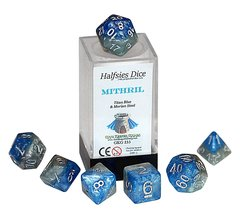 Halfsies Dice: Mithril - 7 Dice Polyhedral Set - Titan Blue and Morian Steel