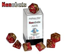 Halfsies Dice: Nanobots - 7 Dice Polyhedral Set - Hot Rod Red and Nitinol Gold