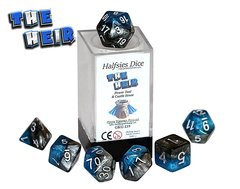 Halfsies Dice: Heir - 7 Dice Polyhedral Set - Power Teal and Castle Stone