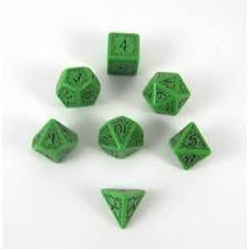 Elven 7  Dice Set - Green w/ Black