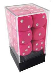 CHX 25644 - Opaque Pink/White 12-die d6 set