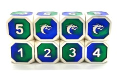 Dragon Forged D6 Set - Platinum Blue & Green