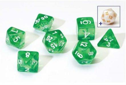 RPG Dice Set (7): Translucent Green Resin