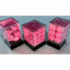 7CT OPAQUE POLY LIGHT PINK/WHITE DICE SET
