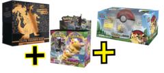 Vivid Voltage Booster Box + Champion's path Etb + Pikachu & Eevee Pokeball Collection Combo