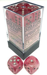 Ghostly Glow Pink / Silver 12 (d6) Dice Set - CHX27724