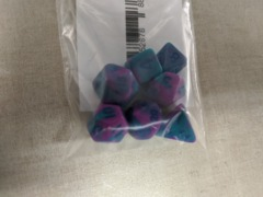 7 count mini dice: Purple w/ teal and blue