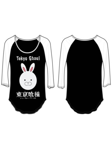 TOKYO GHOUL - Rabbit Face Junior Raglan White Sleeves Black Bodysize L