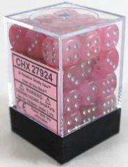 Ghostly Glow Pink w/Silver 36ct 12mm D6 Dice Block - CHX27924