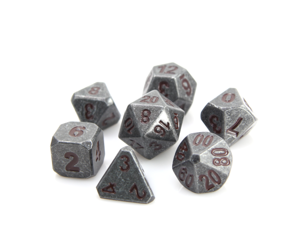Forge Dice - Raw Steel w/ Dark Red