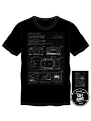 BATMOBILE MENS BLACK SOFT HAND TEE Large