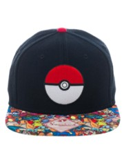 POKEMON - Pokeball W/Sublimated Character Bill S/B Cap Black