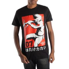 Naruto - Kakashi Red Background Black Tee M