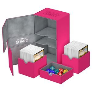 Ultimate Guard Twin FlipNTray Deck Case 200+ Standard Size Xenoskin Pink