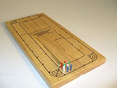 Cribbage: 4-Track Natural Wood, Plastic Pegs