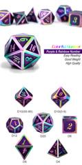 Metal & Enamel Dice Set (7pcs) Purple Iridescence
