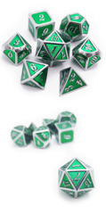 Metal & Enamel Dice Set (7pcs) Green & Silver