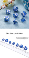 Metal & Enamel Dice Set (7pcs) Azure & Silver