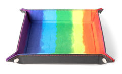 Metallic Dice Games Watercolor Rainbow Velvet Dice Tray with Leather Backing