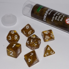 16mm Role Playing Dice Set - Dwarven Gold (7 Dice)