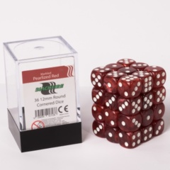 12mm D6 36 Dice Set - Marbled Pearlized Red