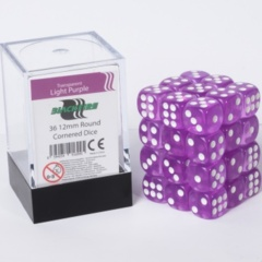 12mm D6 36 Dice Set - Transparent Light Purple