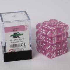 12mm D6 36 Dice Set - Transparent Pink