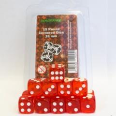 16mm D6 Dice Set - Transparent Red (15 Dice)