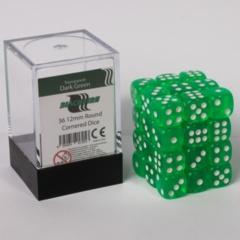 12mm D6 36 Dice Set - Transparent Dark Green