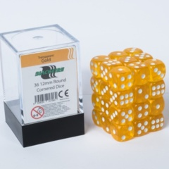 12mm D6 36 Dice Set - Transparent Gold