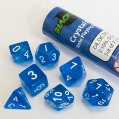 16mm Role Playing Dice Set - Crystal Blue (7 Dice)