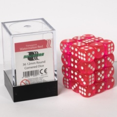 12mm D6 36 Dice Set - Transparent Watermelon Red