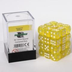 12mm D6 36 Dice Set - Transparent Yellow