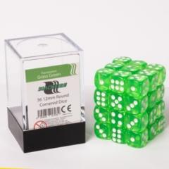 12mm D6 36 Dice Set - Transparent Grass Green
