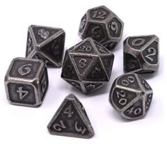 Metal Mythica Dice Set - Dark Silver