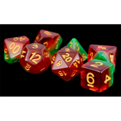 MDG Resin Polyhedral Dice Set: Fruit- Watermelon 7pc