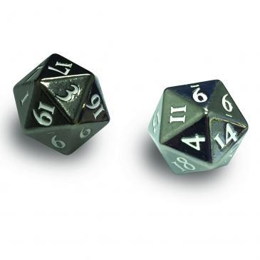 Ultra Pro - Heavy Metal D20 2-Dice Set - Gun Metal w/ White Numbers