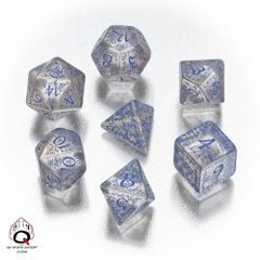Translucent & Blue Elvish 7 Dice Set